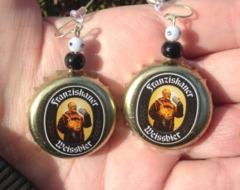 Recycled Franziskaner Weissbier Bottle Cap Earrings