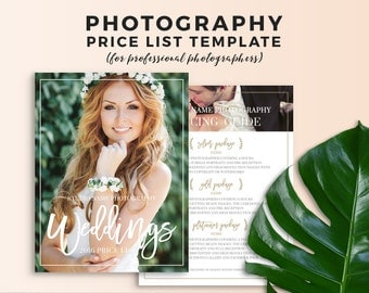Photography Price List Template - Wedding Photography Pricing Guide - Wedding Photography Price Sheet - Photoshop Template - PL0001
