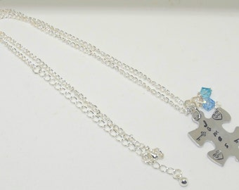 "Silver Autism Awareness Puzzle Piece Necklace (18"")"