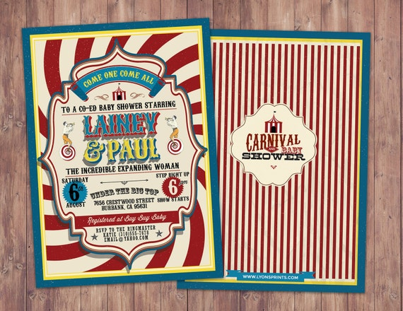 circus baby shower invitation carnival baby shower invitation coed