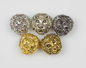 Wholesale! 10 or 50 pcs Lion Head 11*13mm Bead Pewter