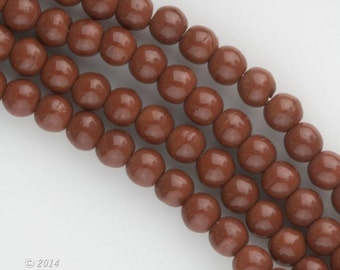 """Vintage Czech coffee colored 4mm rounds. Sold in 15"""" strands.b11-br-0811(e)"""