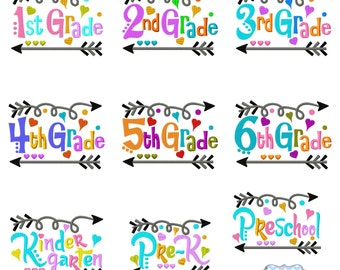 Back to School All Grade Arrows Embroidery Design Preschool, Pre-K, Kindergarten, 1st, 2nd, 3rd, 4th, 5th,6th Grade Digital INSTANT DOWNLOAD