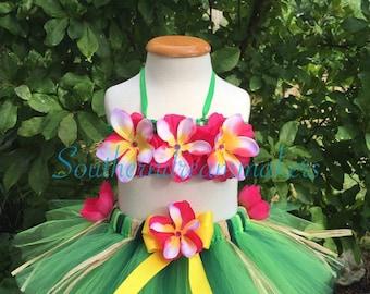 Luau Tutu, 2 piece Luau Tutu, Hawaiian Tutu set, Hula Tutu, Grass Skirt Tutu set