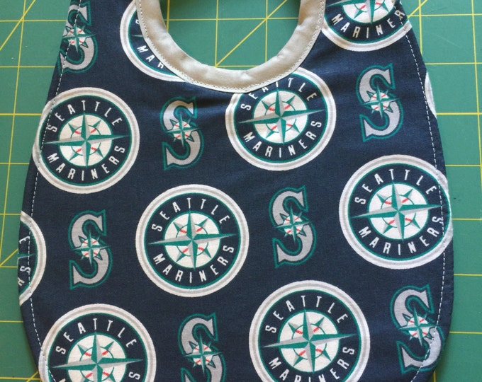 Baby Bib Seattle Mariners Inspired Print Fabric: 2 Sizes Available!