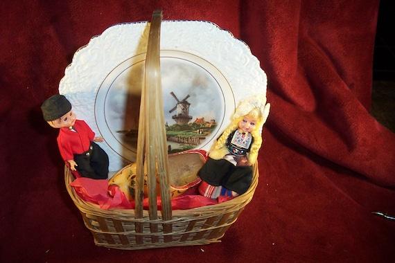 Baby Gift Baskets Netherlands : Vintage holland gift basket with dutch wooden shoe costumed