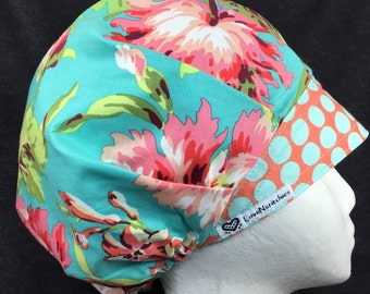 Surgical Cap Amy Butler Bliss Bouffant Scrub Hats for Women LoveNstitchies Coral Aqua Floral OR Nurse Anesthesia Tech CRNA PA vet chemo