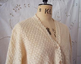 1960s Cream Courtelle Crochet Cardigan • Light Weight • Medium/Large • Knitted Cardi