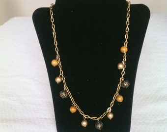 Vintage Chain and Beads Necklace