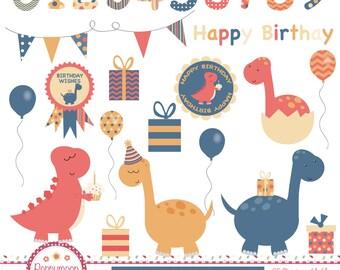 Birthday Dinos,digital clipart set