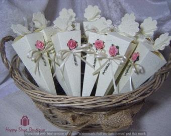 Wedding Confetti cones in a basket real petal confetti