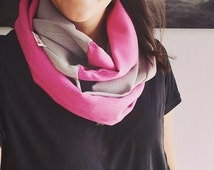 CLEARANCE - Infinity Scarf Adult, fabric FLORENCE Grey + Pink
