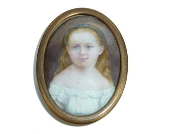 Antique Enamel Portrait Of Two Sisters - Sister Two