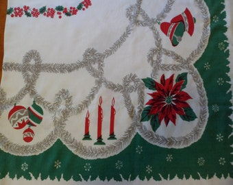 "Vintage Christmas Tablecloth Large 75 x 60"" Green/White Tinsel Garland Shiny Brites Candles Poinsettias Pine Cones~Everything Christmas!"