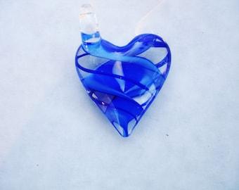 Glass heart, blue heart, murano glass, lampwork glass heart, glass pendant, heart pendant, large heart pendant, heart necklace, hearts