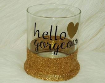 Glitter Make-Up Brush holder- Hello Gorgeous-glitter holder- gift for friend-birthday gift-make up brushes- glitter jar- glitter holder