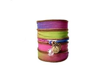 Silk ribbon wrap bracelet with charms