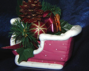 Santa Sleigh in Wine - Ceramic Sleigh - Christmas Decoration - Christmas Sleigh - Santa Sled
