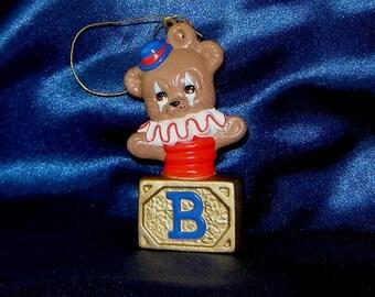 Bear Clown Jack in Box Ceramic Ornament - Ceramic Ornaments - Bear Ornaments - Teddy Bear Ornaments - Jack in Box Ornament - Tree Ornaments