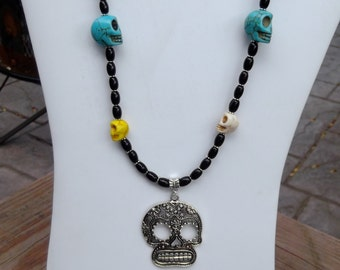 Turquoise Skull necklace goth/halloween