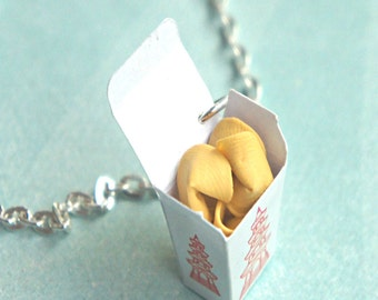fortune cookies necklace- miniature food jewelry, food necklace, chinese food