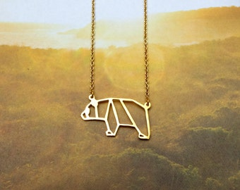 Panda Necklace, Origami Necklace, Bear Necklace, Animal Necklace, Everyday Necklace, Gold plated Necklace, Birthday Gift, Gift under 20