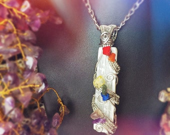 Chakra Clearing: Selenite with Chakra Stones wire wrapped necklace, cleansing all seven chakras