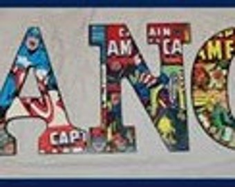 Captian America Inspired Wood letters