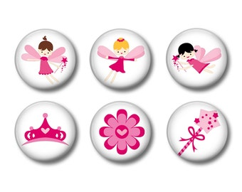 Fairies Set of 6 Magnets or Button Badges 1 Inch (2.5cm)
