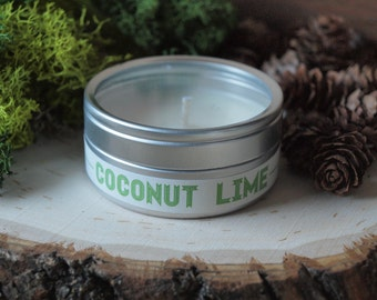 40% Sale | Coconut Lime | Scented Soy Candle | Vegan + Eco-Friendly | 4 oz, 6 oz, 8 oz