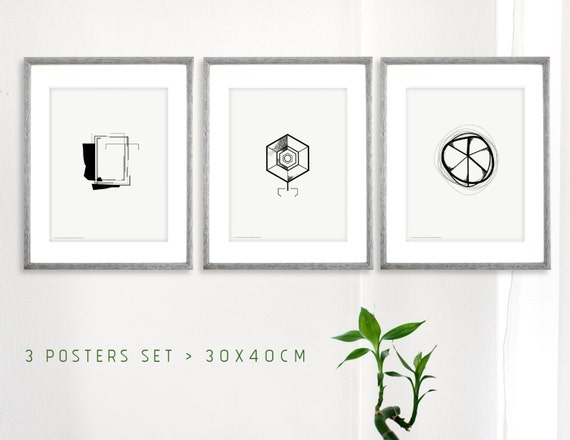 trois affiches modernes scandinavian style by theroundbutton. Black Bedroom Furniture Sets. Home Design Ideas