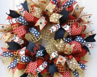 Patriotic Wreath, 4th of July Wreath, Burlap Patriotic Wreath, Americana Wreath, Memorial Day Wreath, July 4 decor, Memorial Day Decor