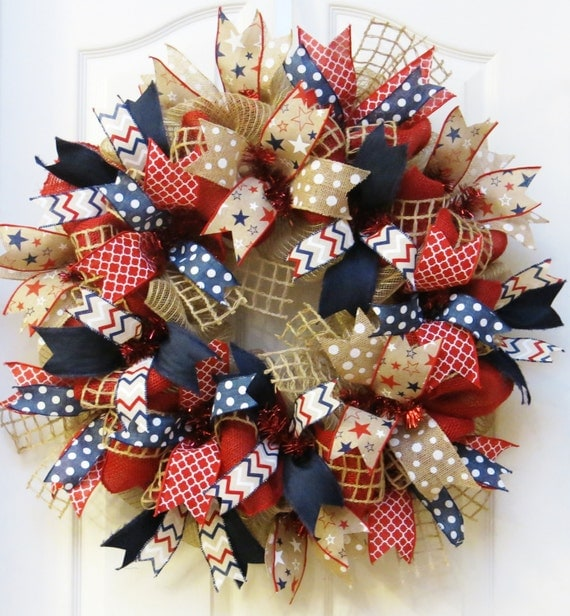 Patriotic Wreath 4th Of July Wreath Burlap Patriotic Wreath