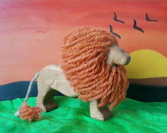 Lion, wooden lion, wooden toy, African animal, cat, waldorf inspired, handcarved