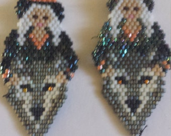 Witch Wolf Maiden Halloween Earrings Wolves Witches