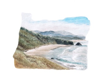 Oregon Art PRINT, Oregon Map Print, Oregon State Art, Art Print, Long Distance Love, Custom Watercolor Painting