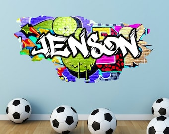 Personalised Custom Graffiti Name Wall Art Stickers Decor For Kids Vinyl Decals Murals Graphics WSD168