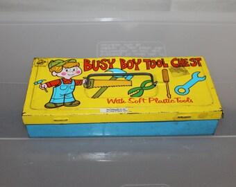 Vintage Ohio Art, Vintage Litho Tin Box, Busy Boy Tool Chest, Vintage Tin, Tin Litho, Very Collectible, Holds Treasures, Child's Pencils