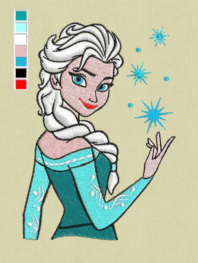 Elsa frozen embroidery design pes jef hus