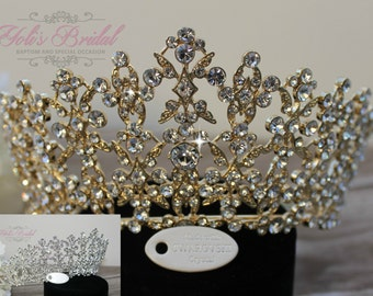 FAST Shipping!!!  Gold Swarovski Tiara,  CristalTiara ,Wedding Tiara ,Crown , Princess Tiara, Quinceanera, Cristal Headpiece