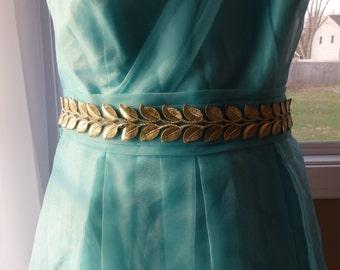 Gold leaves sash Prom sash Wedding sash Laurel leaves sash Bridal belt Wedding belt Dress belt Sash belt Lace belt Gold belt