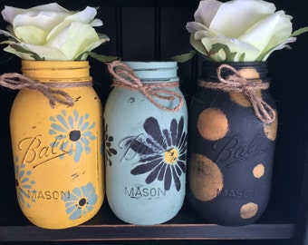 Distressed Mason Jars-Set of 3(Free Shipping)
