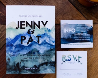 Mountain Theme Wedding Invitation Suite | Watercolor