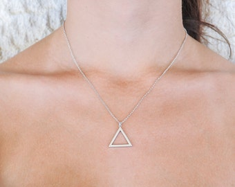 Silver Triangle, Triangle Necklace, 925 Sterling Silver, Geometric, Minimalist