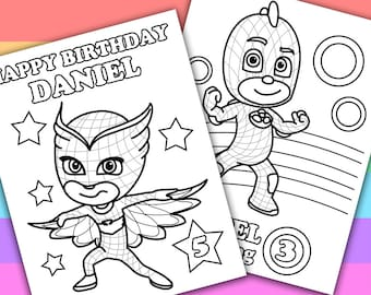 2 Personalized Coloring Pages PJ Masks Animation by PetiteMonkey