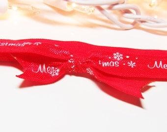 Christmas Headband - White Headband - Holiday Headband -  Red Headband - Bow Headband - Baby Headband