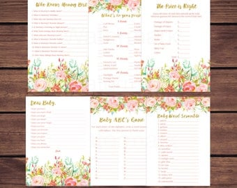 Floral Baby Shower Games Package, What's in Your Purse, Word Scramble, Printable Baby Shower Games, Pink and Gold Instant Download