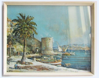 Vintage Framed Picture Print 'Calvi' by M Barle. Retro Ward Era 60's.