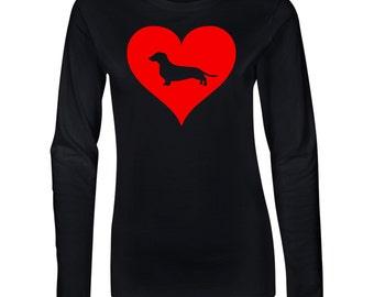 dachshund Love Heart Junior Long Sleeve T-Shirt. Juniors Long Sleeve T-Shirt. Dog Lover Shirt.  64400L