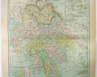Vintage Original 1905 Map of Greece by Fisk & Co.